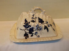 An Antique Flow Blue Covered Cheese Dish with Gold Trim