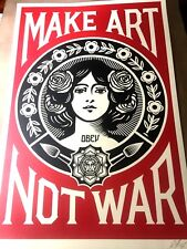 SIGNED Shepard Fairey MAKE ART NOT WAR Original Print Poster Obey Giant 24x36