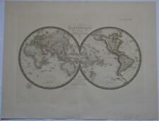"Original 1830 World Hemispheres - Brue Atlas 26"" x 21"" Huge map - Antique"