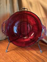 Anchor Hocking Royal Ruby Red Depression Glass Round Bowl with Handles 8""