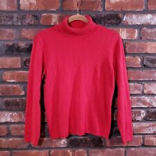 Talbots Petites Red Ribbed Knit Turtleneck Sweater Long Sleeve Cotton Women's PL