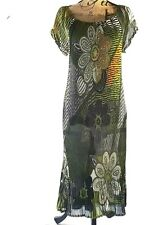Erika Brooke Dress Plus Size 14 Pleated Floral Hawaiian 1970s Look Boho Bohemian