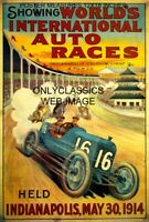 1914 INDY 500 MOTOR SPEEDWAY 12X18 POSTER VINTAGE AUTO RACING OLD LITHOGRAPH ART