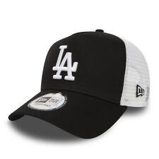 NEW ERA MEN BASEBALL CAP.MLB LA DODGERS BLACK CLEAN A FRAME MESH TRUCKER HAT C8
