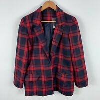 Glassons Blazer Jacket Womens 12 Blue Red Plaid Long Sleeve Button Closure