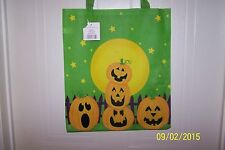 NWT Trick Or Treat HALLOWEEN Large Candy Tote Bag Green PUMPKINS