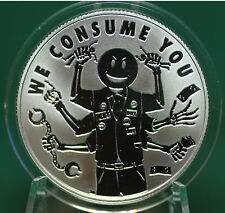 """2015 Silver Shield """"WE CONSUME YOU"""" -  99.9% silver PROOF -#5  Pyramid of Power"""
