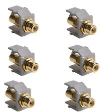 Lot of 6 Pack Leviton 40830-BGE QuickPort RCA Gold-Plated Connector Black Stripe