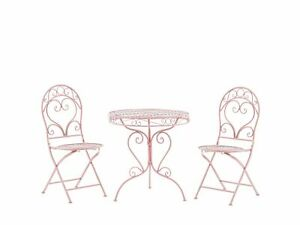 Outdoor Patio 3 Piece Bistro Set Pink Round Metal Table and Chairs Albinia