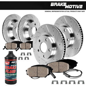 For Mercedes-Benz S400 S550 Front+Rear Drill Slot Brake Rotors & Ceramic Pads