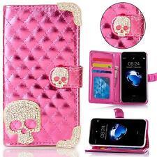 Samsung Galaxy Totenkopf Strass Handy Tasche Schutz Hülle Flip Cover Etui Case