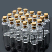 10 x Miniature Glass Bottles / Vials & Cork Stopper Decorative Storage Pendant
