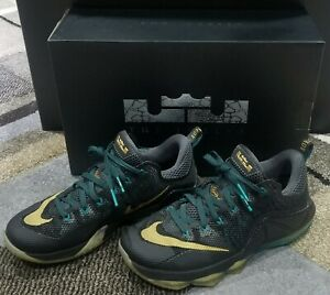 Nike LeBron James 12 XII Low Size 10 Black Green Metallic Gold 724557-070 Shoes