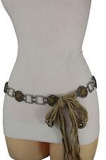 Women Antique Silver Metal Ethnic Charm Fashion Beige Tie Belt Hip Waist M L XL