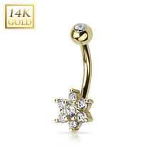 14K Solid GOLD BELLY Button NAVEL Bar RINGS Piercing Jewelry *CLEAR GEM FLOWER