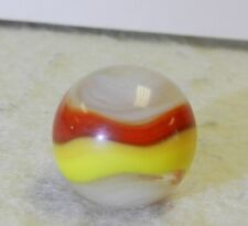 #10625m Vintage Akro Agate Red and Yellow Popeye Marble .64 Inches