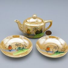 Vintage Lusterware Childs Doll Teapot & 2 Plates Beach Ship Trees Pattern Japan