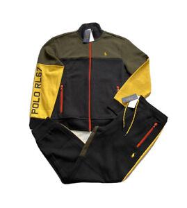 Polo Ralph Lauren RL67 Black Olive Double Knit Colorblock Tracksuit NWT Men's L