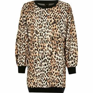 RIVER ISLAND Womens Leopard Print Long Sleeve Sweater Dress Sz 8 | 10 RRP- £40