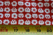 By 1/2 Yd, White Dogs & Flowers on Red Mini-Wale Corduroy Fabric, N5325