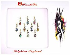 10 X GOLD DIAMANTE INDIAN BRIDAL BINDI CRYSTAL TIKKA HEAD FESTIVAL GEMS D16