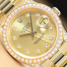 ROLEX MENS DATEJUST 1.60 CT BEZEL DIAMOND LUGS 18K GOLD PRESIDENT WATCH
