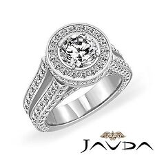 Halo Set Round Diamond Engagement Vintage Ring GIA F SI1 14k White Gold 3.46ct