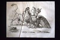 Incisione d'allegoria e satira Ungheria, Austria, Russia Don Pirlone 1851