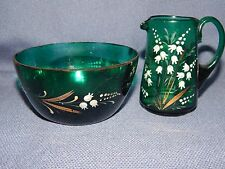 ANTIQUE VICTORIAN BRISTOL GREEN GLASS JUG & BASIN ~ LILY OF THE VALLEY ENAMEL