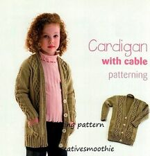 (20) Knitting Pattern for Child's Cardigan with Cable Panels & Pockets, 2-10yrs