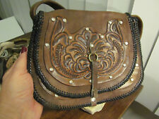 Boho vintage Rustic Floral Hand Tooled Saddle Brown Leather Purse