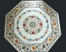 24 Inch Marble Coffee Table Top Inlay Reception Table with Beautiful Floral work