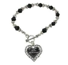 Junior Bridesmaid Heart Silver Black Glass Bead Bracelet Jewelry Wedding Gift