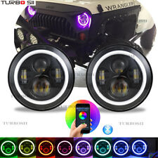 """For Jeep Wrangler Headlight 7"""" Round RGB LED Halo Ring Bluetooth App Controlled"""