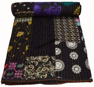 Kantha Quilt Reversible Indian Bedding Blanket Patchwork Handmade Queen Indian