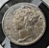 1936 P Silver Mercury Dime Uncirculated with toning