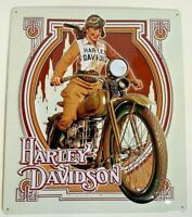 Nouveau Babe Pin Up Harley Davidson Motorcycle Metal Sign Andy Rooney