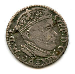 Genuine Silver 1585 Poland Lithuania Wilno 3 Groschen Trojak
