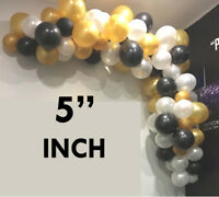 """5"""" Inch Mini Best Latex Balloons of Color White, Black & Gold For Party Decor"""