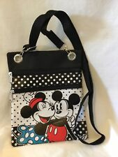Disney Mickey & Minnie Crossbody Hipster 2 Zipper Pocket Style Purse Handbag