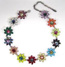 SoHo® Halskette Flora Blüte Blumen geschliffene navette Kristalle bohemia bunt