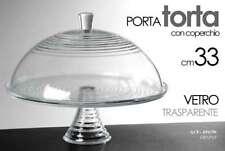 ALZATA PORTA TORTA IN VETRO TRASPARENTE TONDA CON COPERCHIO 33 CM ACF-694196