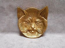 Vintage French Bronze CAT Figural Animal Dish Plate Card Tray -  CAT Face -