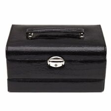 3 Tier Black Croc Leather Jewelry Box Organizer Necklace Earring 15 Ring Mirror
