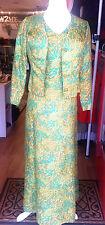 AUTHENTIC 70s Ah Chuk Silk Long Sleeved Dress & Matching jacket - Equiv Sz 10