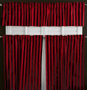 Poly Cotton Striped Print 3-Piece Kitchen Valance/Tier Café Curtain Window Set