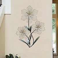 Metal Flower Sculpture Wall Art Plant Floral Botanical Home Accent Hanging Decor