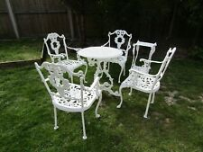 CAST IRON GARDEN PATIO TABLE & 4 CHAIRS SET + ORNATE STAND - VERY HEAVY - VGC