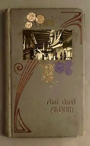 Antique Art Nouveau Post Card Album w 50 Empty Slotted Pages Inscribed as Gift