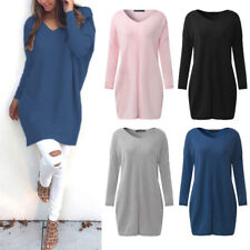 ZANZEA 8-24 Women Plus Size Tunic Top T Shirt Blouse Jumper Short Sweater Dress